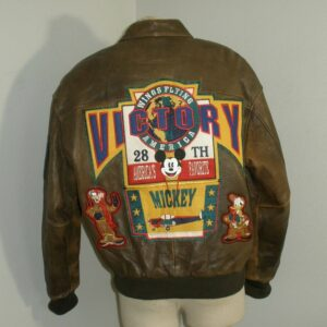 Mickey Mouse Victory Walt Disney World Brown Leather Jacket