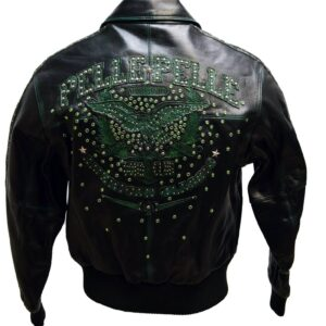 Pelle Pelle Black Green Stud Leather Jacket