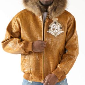 Pelle Pelle Brown Hooded Fur Leather Jacket