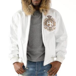 Pelle Pelle White Hooded Fur Studded Leather Jacket