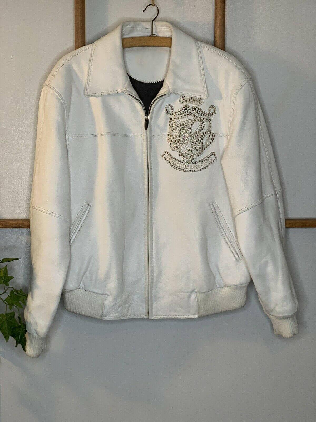 Pelle Pelle White Stud Marc Buchanan Leather Jacket