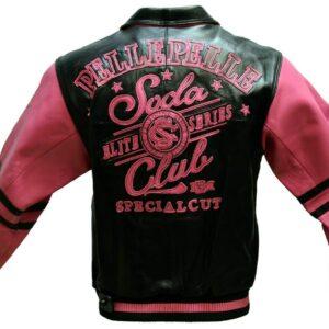 Pink Black Pelle Pelle Soda Club Leather Jacket
