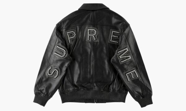 Supreme Arc Logo Studded Black Leather Jacket