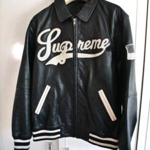 Supreme Uptown Black Leather Jacket