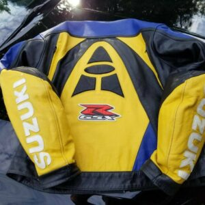 Suzuki GSXR Motorcycle Blue And Yellow Leather Jacket