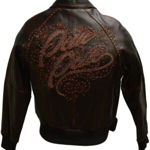 Vintage Brown Pelle Pelle Embroidered Leather Jacket