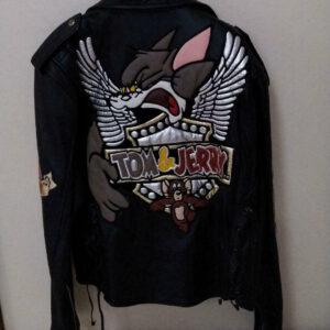 Vintage Tom and Jerry Cartoon Biker Leather Jacket