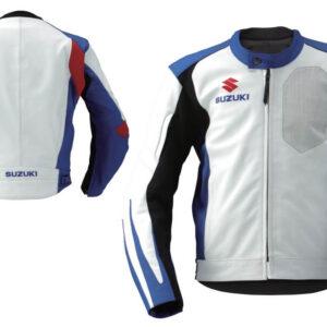 White Suzuki Motorcycle Racing Leather Jacket