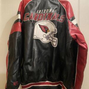 Arizona Cardinals Black Red Bomber Leather Jacket