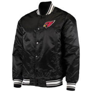 Arizona Cardinals Black Satin Full Snap Jacket