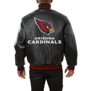 Black Arizona Cardinals Leather Jeff Hamilton Jacket