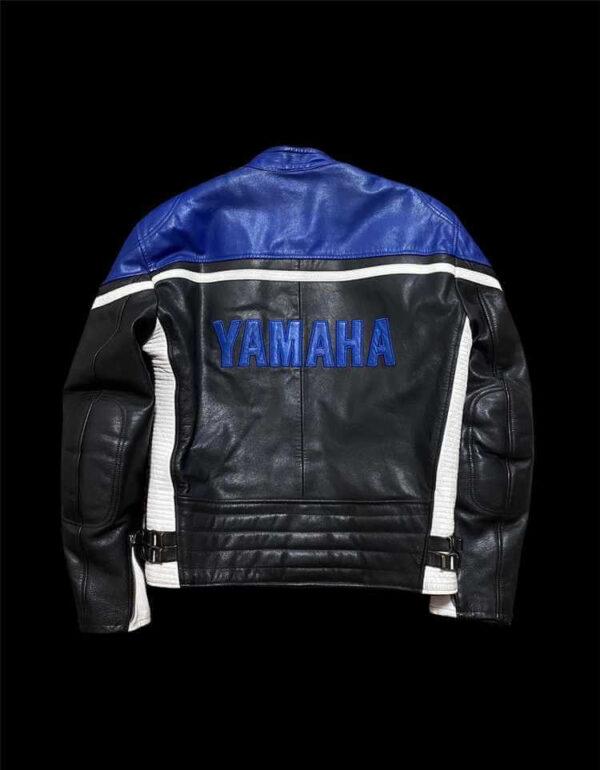 Black Blue Yamaha Motorcycle Racing Leather Jacket