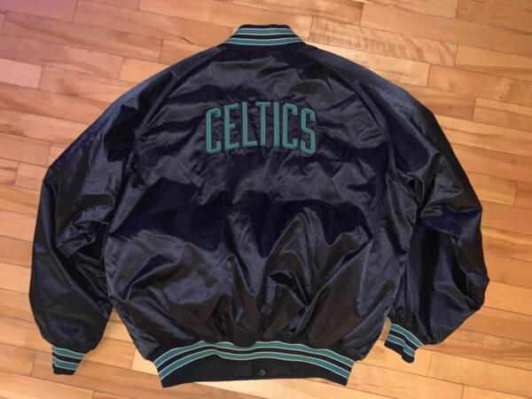 Black Boston Celtics NBA Satin Jacket