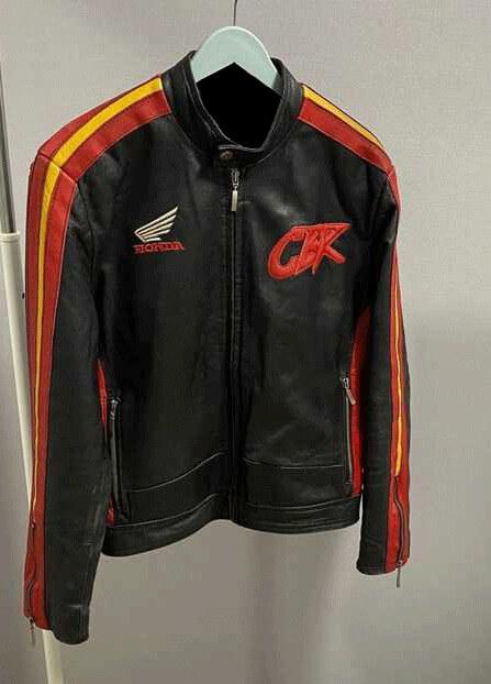 Black Honda CBR Motorcycle Racing Leather Jacket