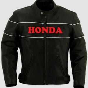 Black Honda Motorcycle Racing Leather Jacket