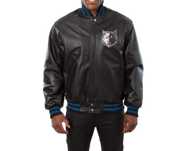 Black Minnesota Timberwolves NBA Leather Jacket