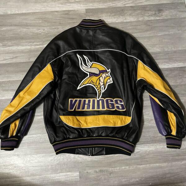 Black Minnesota Vikings NFL Leather Jacket