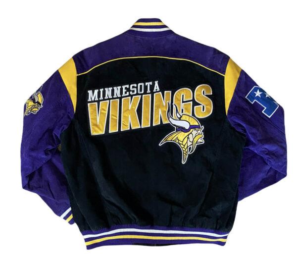 Black Minnesota Vikings NFL Suede Leather Jacket