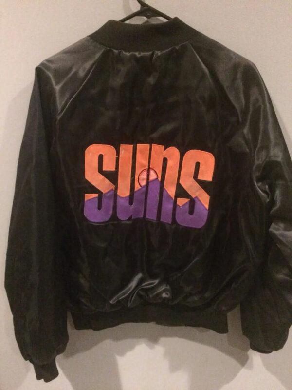 Black NBA Phoenix Suns Zip Up Satin Jacket
