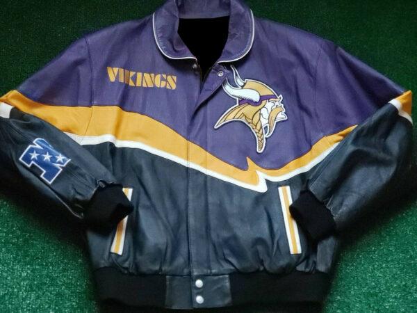 Black NFL Minnesota Vikings Leather Jacket