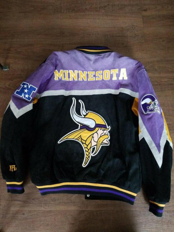 Black NFL Minnesota Vikings Suede Leather Jacket