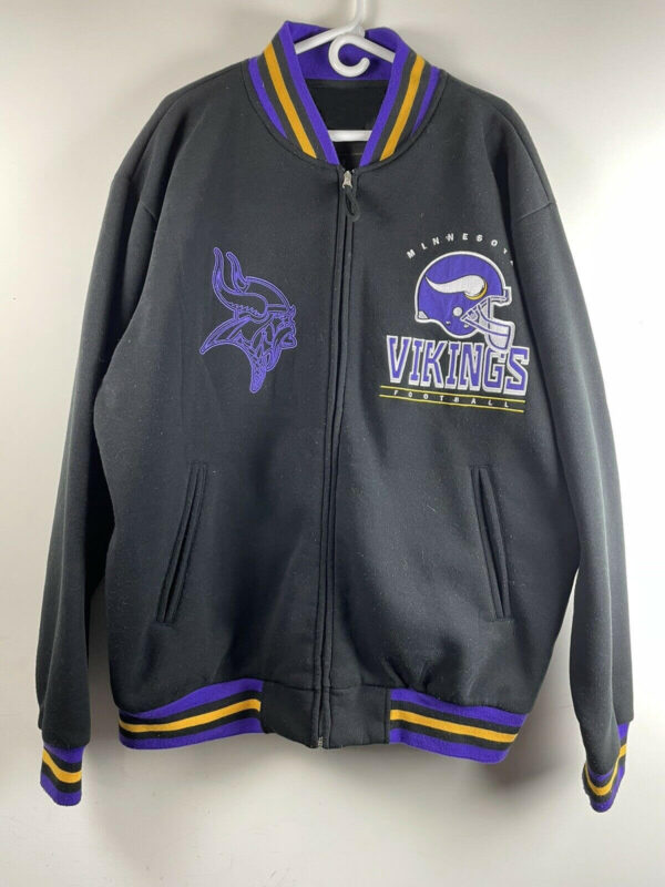 Black NFL Minnesota Vikings Wool Jacket