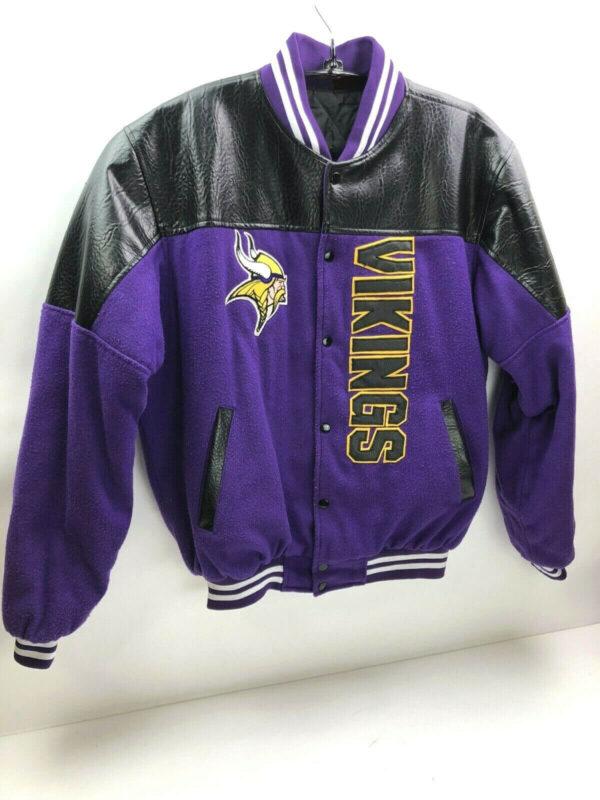 Black NFL Minnesota Vikings Wool Leather Jacket