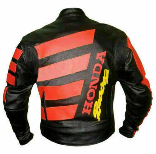 Black Red Honda Motorcycle Leather Jacket