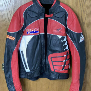 Black Red Honda Motorcycle Racing Leather Jacket
