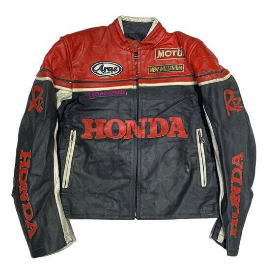 Black Red Honda RR Motorcycle Racing Leather Jacket