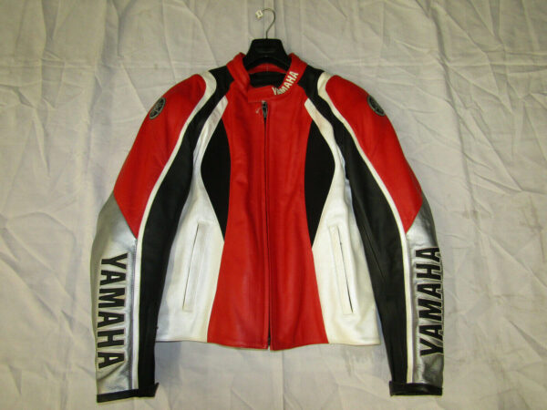 Black Red Yamaha Motorcycle Racing Leather Jacket