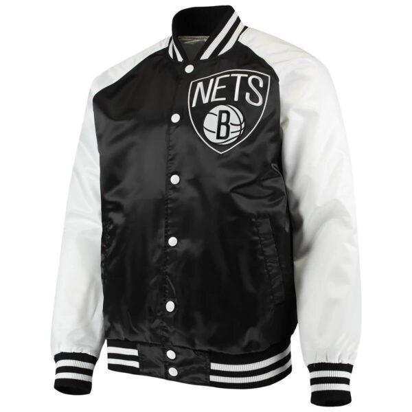 Black White Brooklyn Nets Point Guard Satin Snap Jacket
