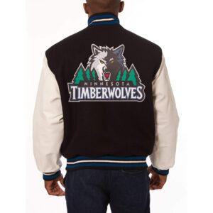 Black White Minnesota Timberwolves NBA Varsity Jacket