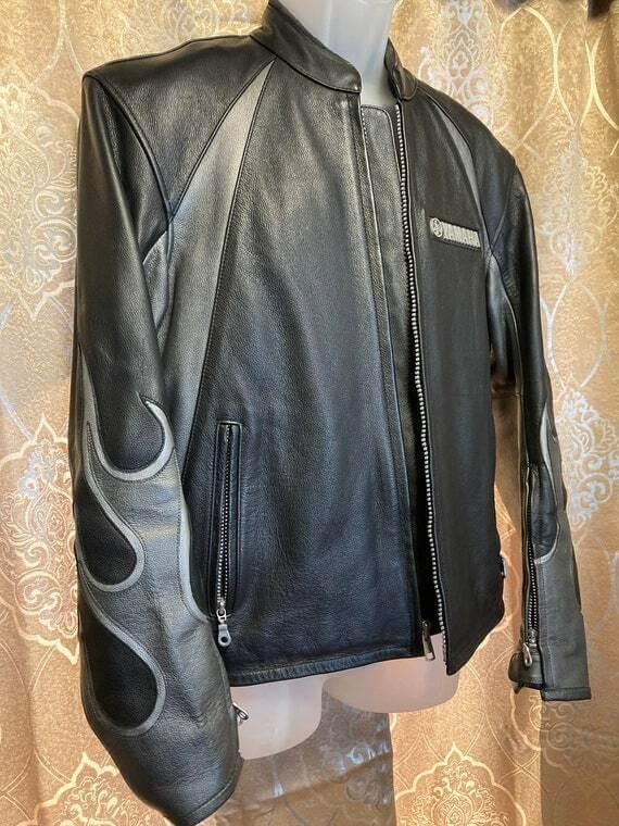 Black Yamaha Motorcycle Racing Leather Jacket