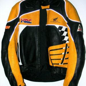 Black Yellow Honda Motorcycle Racing Leather Jacket