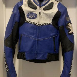 Blue Black Yamaha Motorcycle Racing Leather Jacket