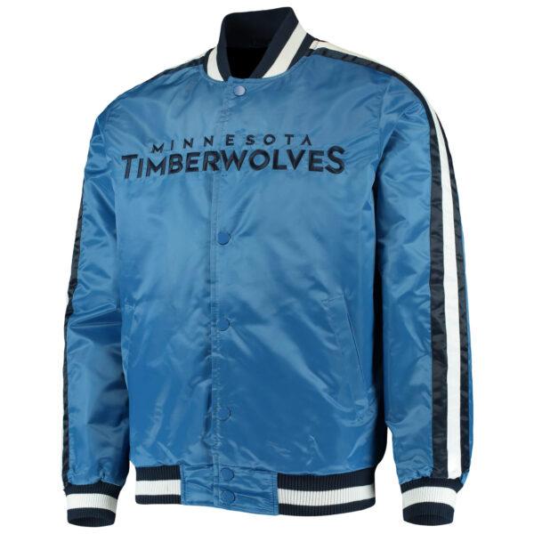 Blue Minnesota Timberwolves NBA Full Snap Satin Jacket