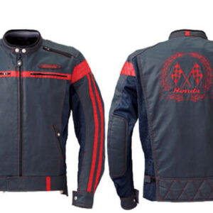 Blue Red Honda Motorcycle Racing Leather Jacket