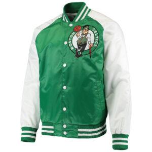 Boston Celtics Satin Kelly Green White Full Snap Jacket