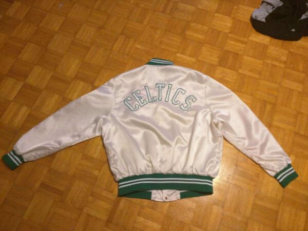 Boston Celtics White Satin Jacket