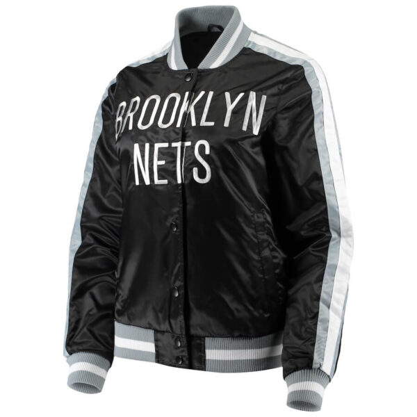 Brooklyn Nets Black Competition Satin Full Snap Jacket