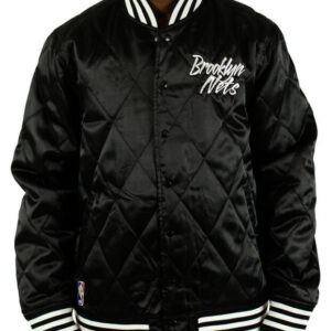 Brooklyn Nets Black Embroidered Quilted Satin Jacket