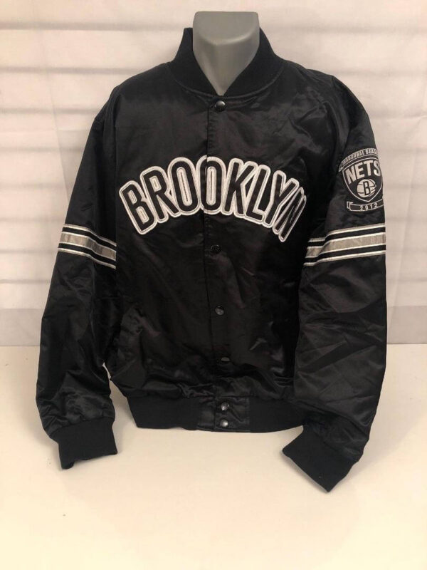Brooklyn Nets Black Embroidered Satin Jacket