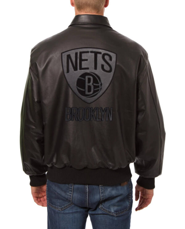 Brooklyn Nets Black Full Leather Jacket