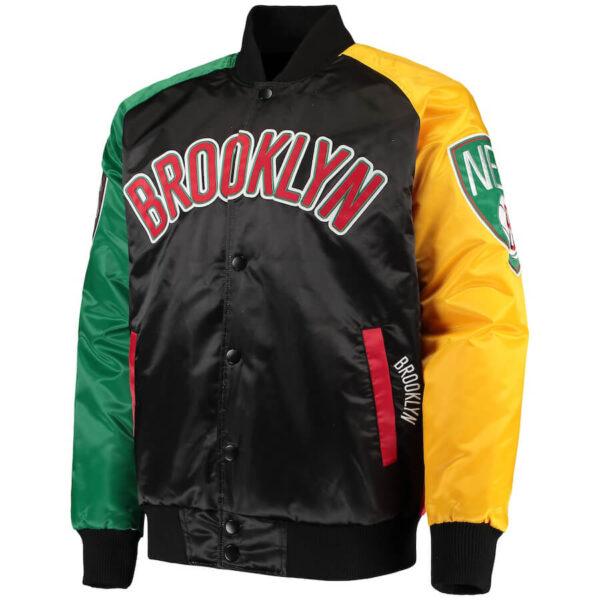 Brooklyn Nets New York Multi Embroidered Satin Jacket
