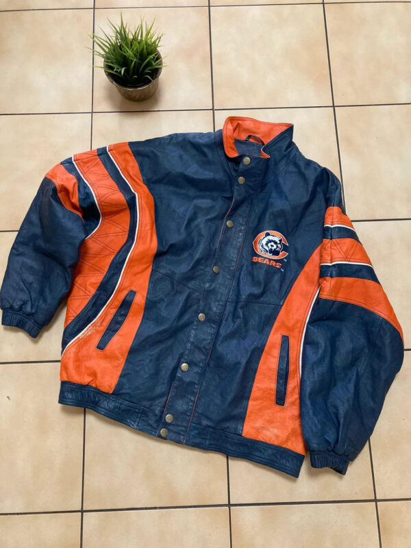 Chicago Bears Blue Orange NFL Leather Jacket