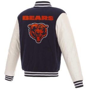 Chicago Bears NFL Navy White Full Snap Varsity Jacket