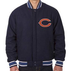 Chicago Bears NFL Wool Navy Bomber Jacket