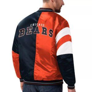 Chicago Bears Navy Orange Leader Satin Jacket