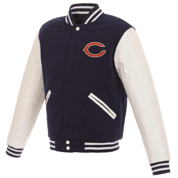Chicago Bears Navy White NFL Full Snap Varsity Jacket